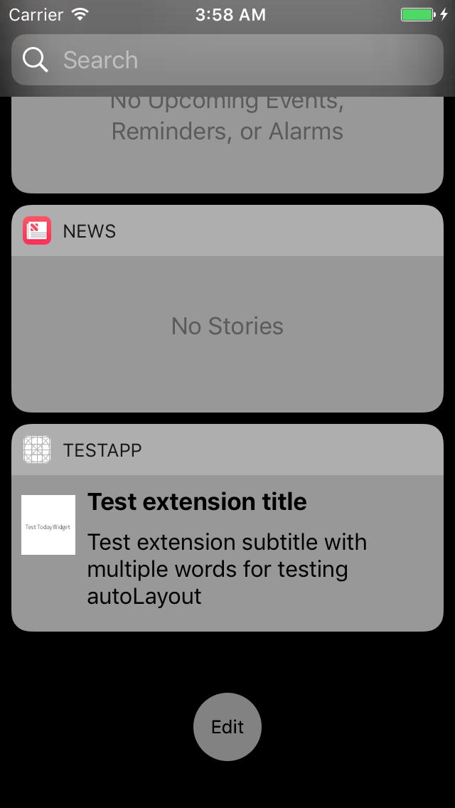 Widget: Today extension