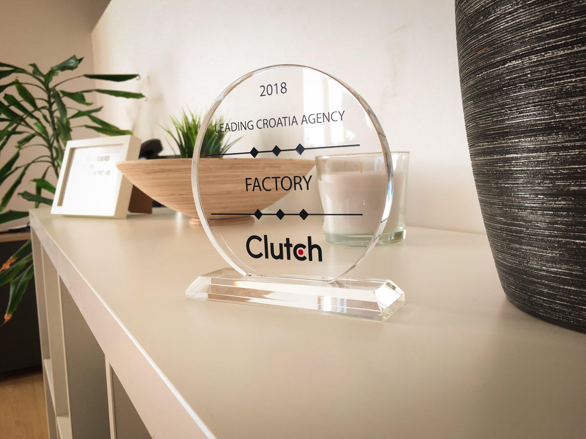 Clutch Factory award in 2018 for leading Croatian agency