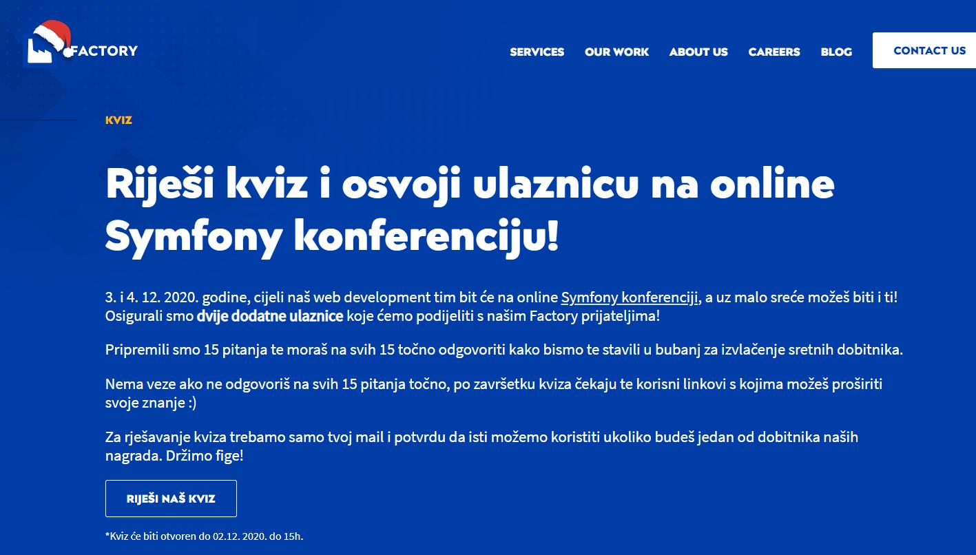 Symfony online konferencija 2020 Factory kviz