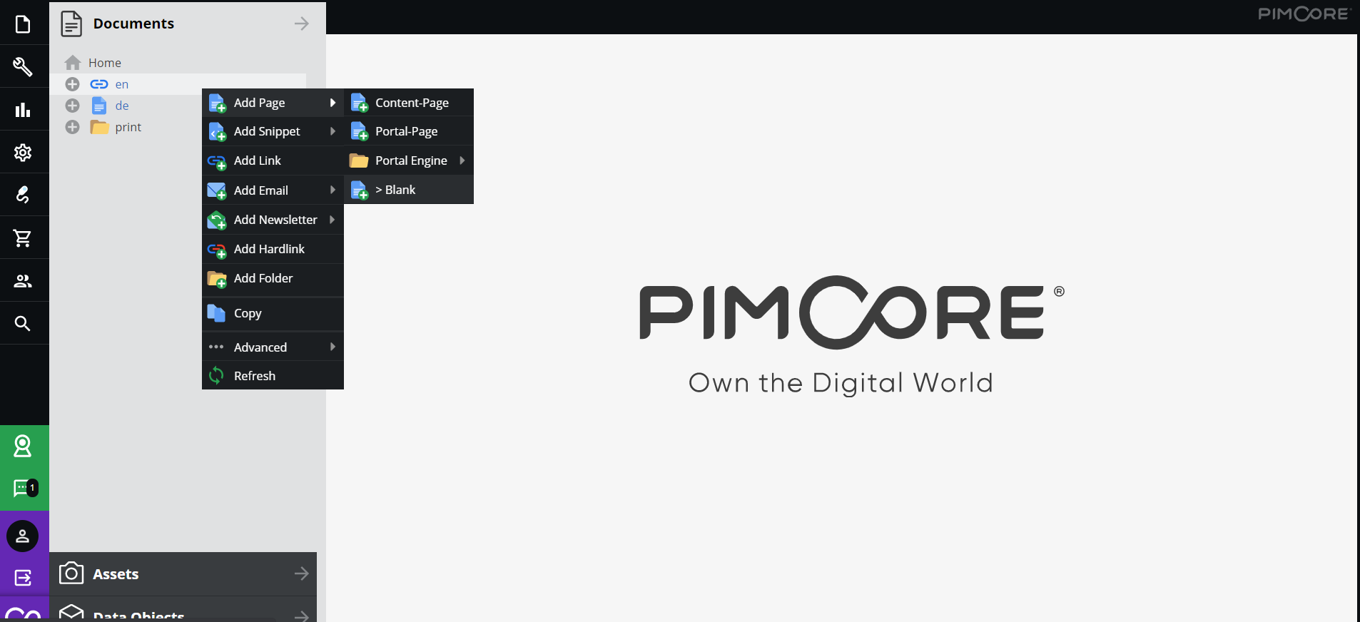 Adding a new blank page in Pimcore administration