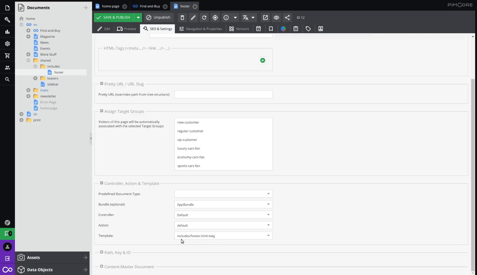 Editing SEO & settings for footer on landing page in Pimcore