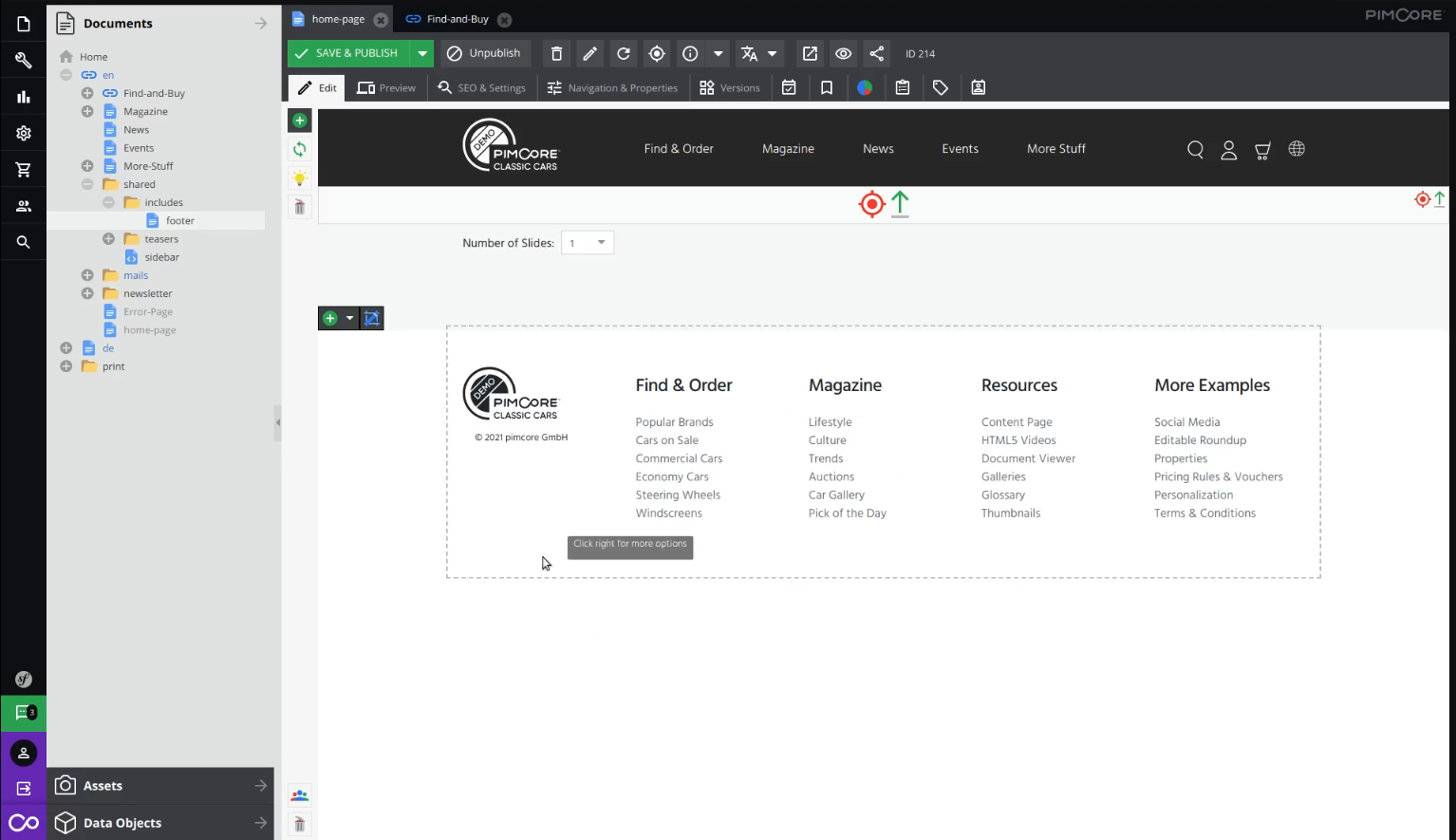 Editing footer on landing page in Pimcore